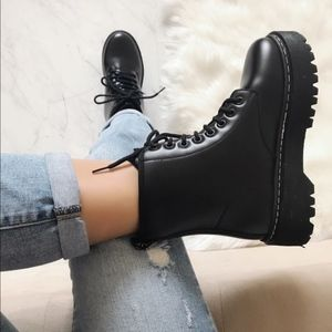 Restocked Lace Up Cleated Platform Combat Boots